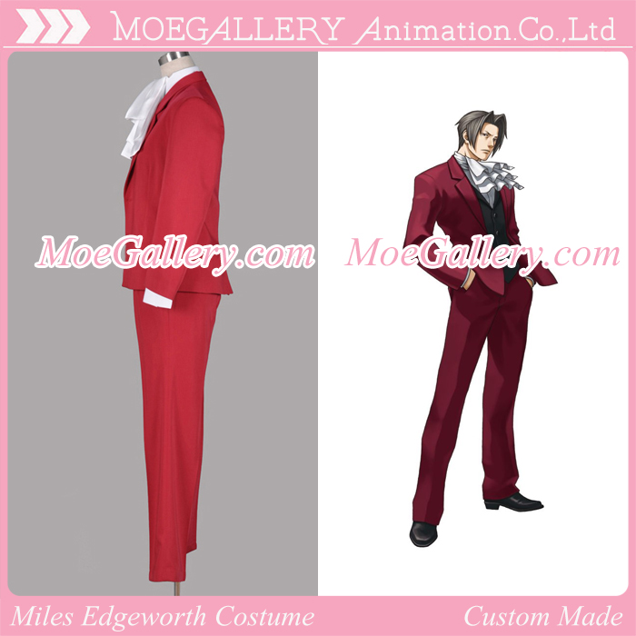 Ace Attorney Miles Edgeworth Red Cosplay Costume
