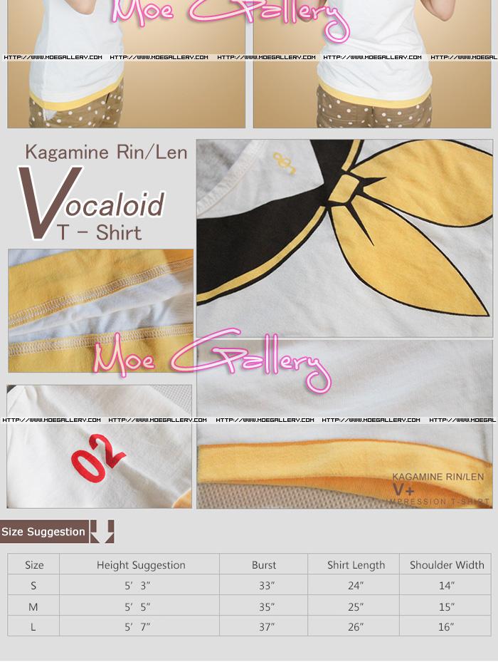 Vocaloid 2 Kagamine Rin Len T-Shirt Kagamine Tee