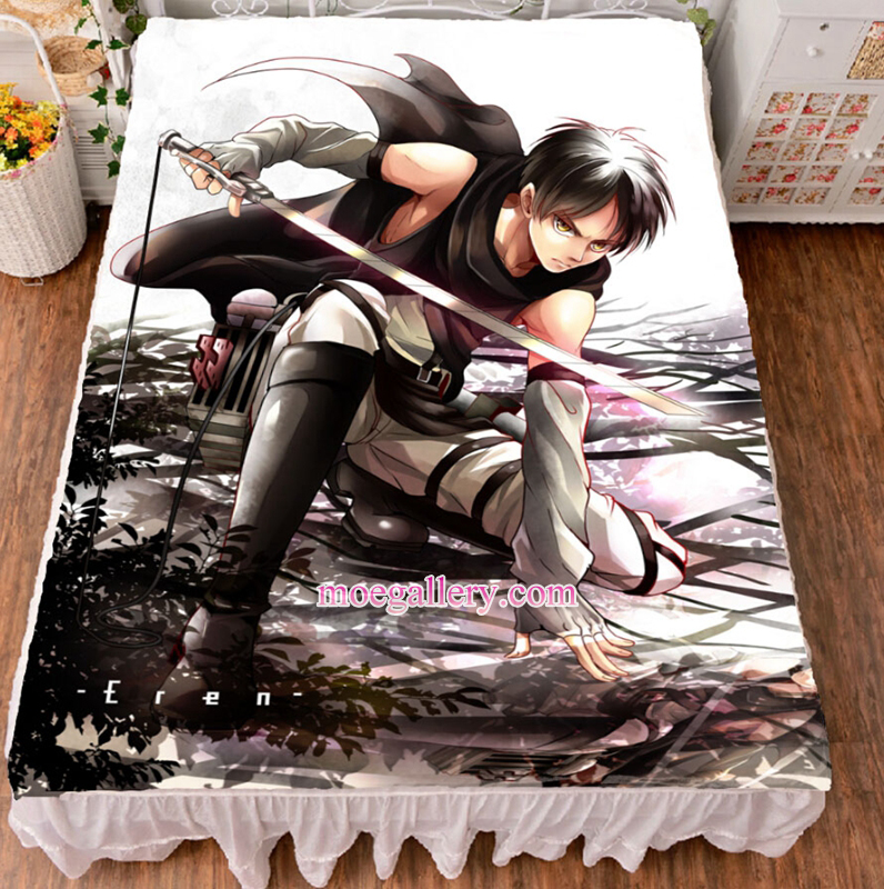Attack On Titan Eren Yeager Anime Bed Sheet Summer Quilt Blanket Custom