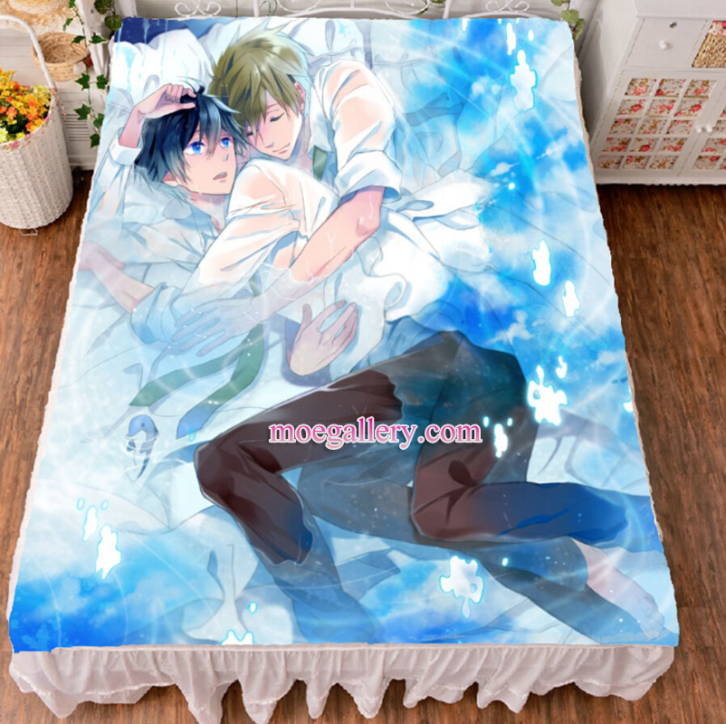 Free Haruka Nanase Makoto Tachibana Anime Bed Sheet Summer Quilt Blanket Custom 02