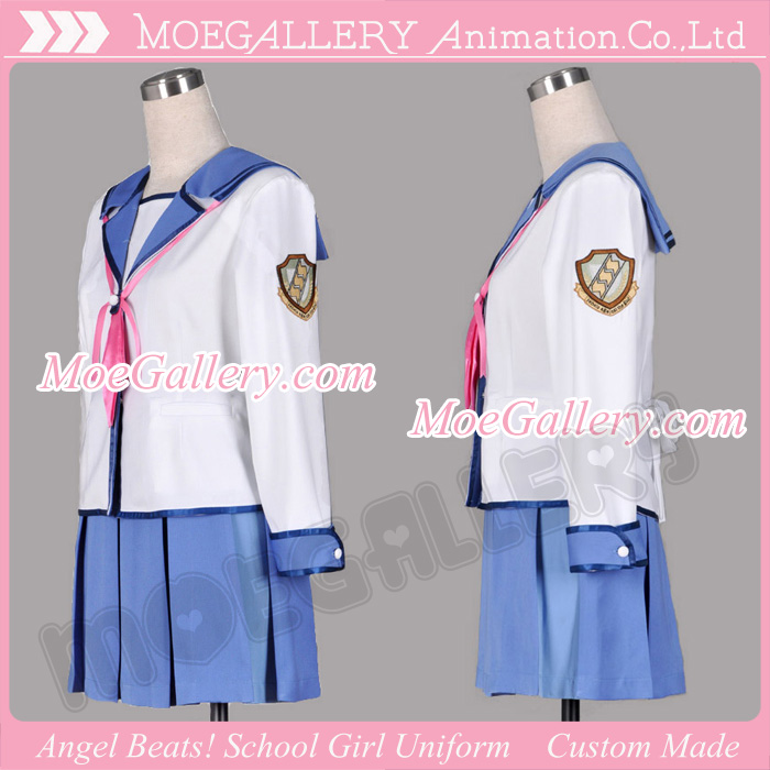 Angel Beats Yuri Nakamura Cosplay Costume School Girl Uniform