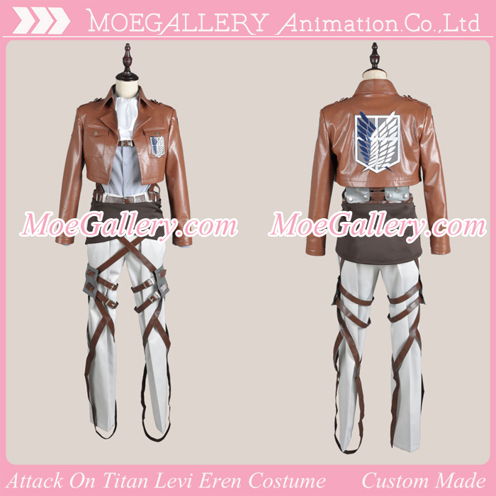 Attack On Titan Shingeki No Kyojin Levi Eren Leather Cosplay Costume