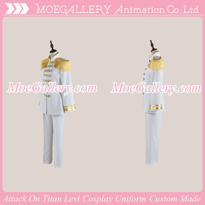 Attack On Titan Shingeki No Kyojin Levi White Cosplay Uniform