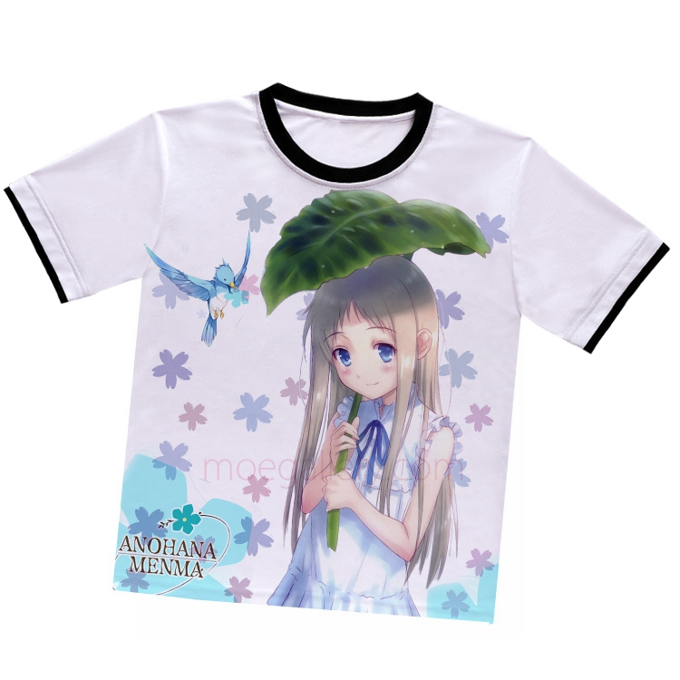 Anohana The Flower We Saw That Day Meiko Menma Honma White T-Shirt