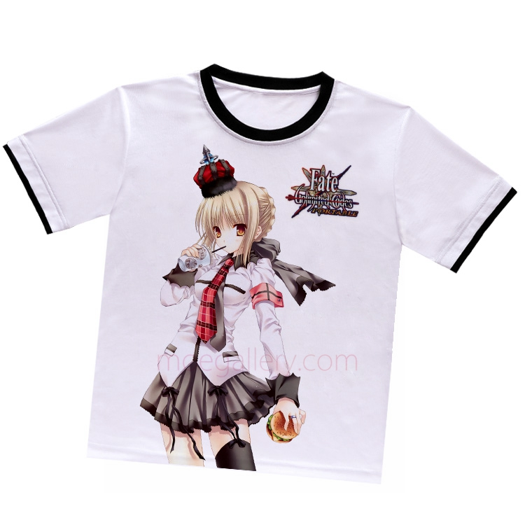 Fate Stay Night Fate Zero Saber White T-Shirt 02