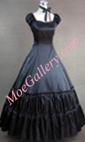 Civil War Gothic Lolita Satin Gown Black Dress Prom