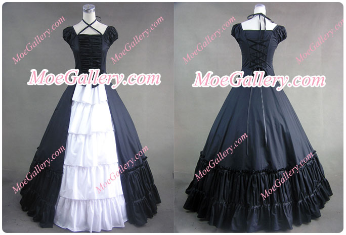 Civil War Gothic Lolita Satin Ball Gown Black Dress