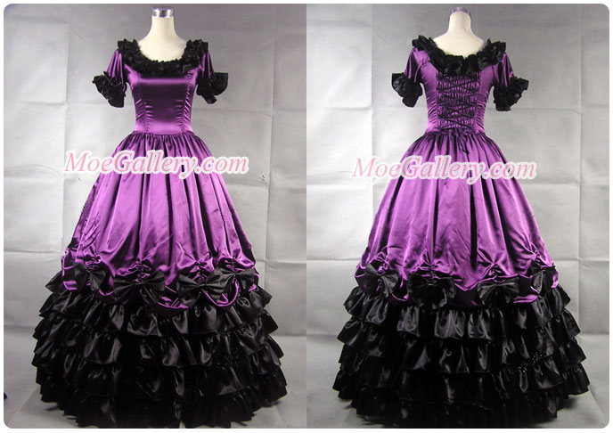 Civil War Southern Belle Ball Gown Violet Dress Prom