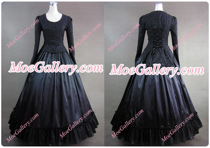 Civil War Victorian Brocaded Ball Gown Black Dress