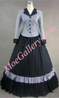 Civil War Victorian Tartan Evening Gown Gray Dress
