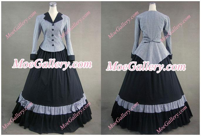 Civil War Victorian Tartan Evening Gown Gray Dress