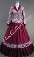 Civil War Victorian Tartan Evening Gown Red Dress