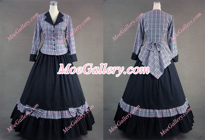 Civil War Victorian Tartan Evening Gown Stripe Dress