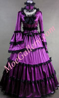 Southern Belle Gothic Satin Purple Dress Ball Gown Prom