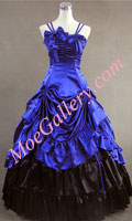 Southern Belle Satin Lolita Ball Gown Prom Blue Dress