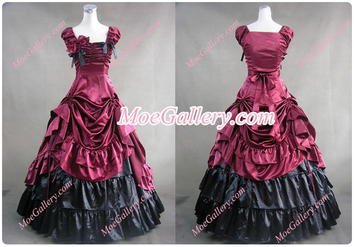 Southern Belle Satin Ball Gown Prom Wedding Red Dress