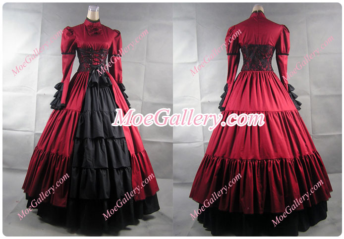 Victorian Corset Lolita Cosplay Red Dress Ball Gown