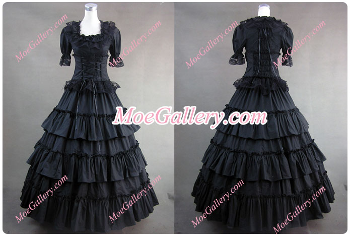 Victorian Gothic Lolita Wedding Black Dress Ball Gown