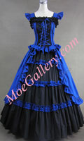 Victorian Gothic Lolita Cotton Blue Dress Ball Gown