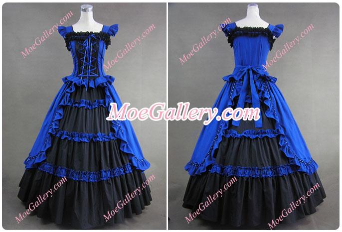 Victorian Gothic Lolita Cotton Blue Dress Ball Gown