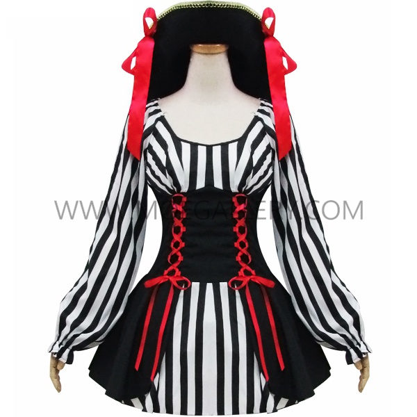 Black And White Stripes Woman Pirates Stage Costume