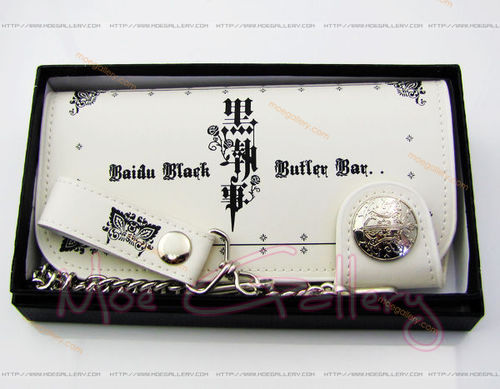 Black Butler Logo White Long Wallet 01